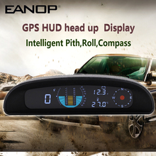 Eanop Gps Hud Headsup Intellignet Auto Snelheidsmeter Kmh/Mph Inclinometer Pitch Automotive Voltage Monitor Kompas Hoogte