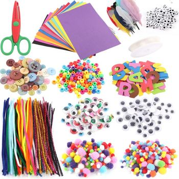 Art and Craft Kit Supplies Include Pipe Cleaners Feather and Felt  Foam Balls fo одежда для йоги art and craft s258