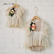 Кружевное Цветочное платье Jane Z Ann во французском стиле для новорожденных/фото реквизит 100 дней для студийной съемки