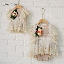 ג יין Z אן צרפתית בסגנון תחרה פרח שמלת תינוקת יילוד/1 2 שנה/100 ימים צילום אבזר סטודיו ירי אבזרים