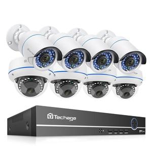 Image 1 - Techage 8CH POE 1080P الأمن NVR مجموعات 2MP الصوت نظام الكاميرا الصوت قبة رصاصة داخلي في الهواء الطلق طقم مراقبة CCTV 2 تيرا بايت HDD