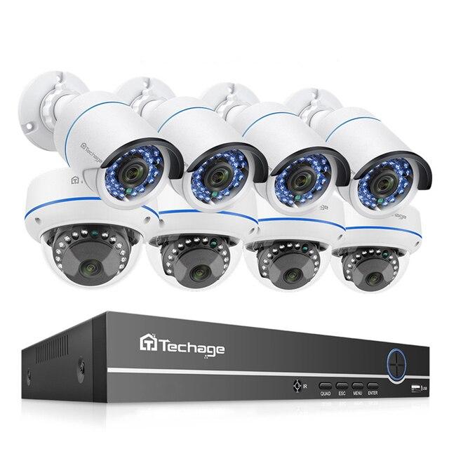 Techage 8CH POE 1080P الأمن NVR مجموعات 2MP الصوت نظام الكاميرا الصوت قبة رصاصة داخلي في الهواء الطلق طقم مراقبة CCTV 2 تيرا بايت HDD