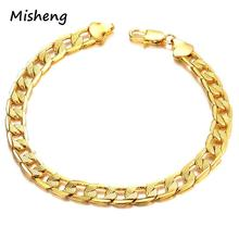 Misheng Fashion Gold Mens Bracelet Atmosphere Print Twisted Geometry Copper Link Chain Trend Accessories Friendship