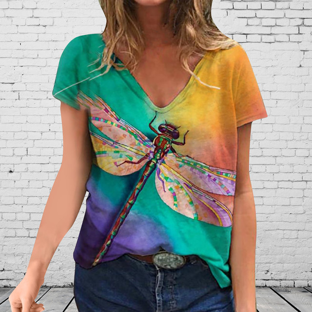 Woman T shirts Plus Size Women Short Sleeve Dragonfly Printed V-Neck Tops Tee T Shirt