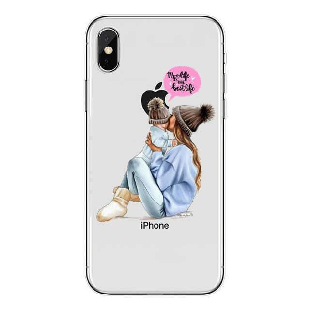 Czarne brązowe włosy drodzy dziecko mama dziewczyna syn królowa 01 miękki futerał na iPhone 7 6 6s 8 Plus 11 pro max X XS XR 5 5s mamusia silikonowa okładka