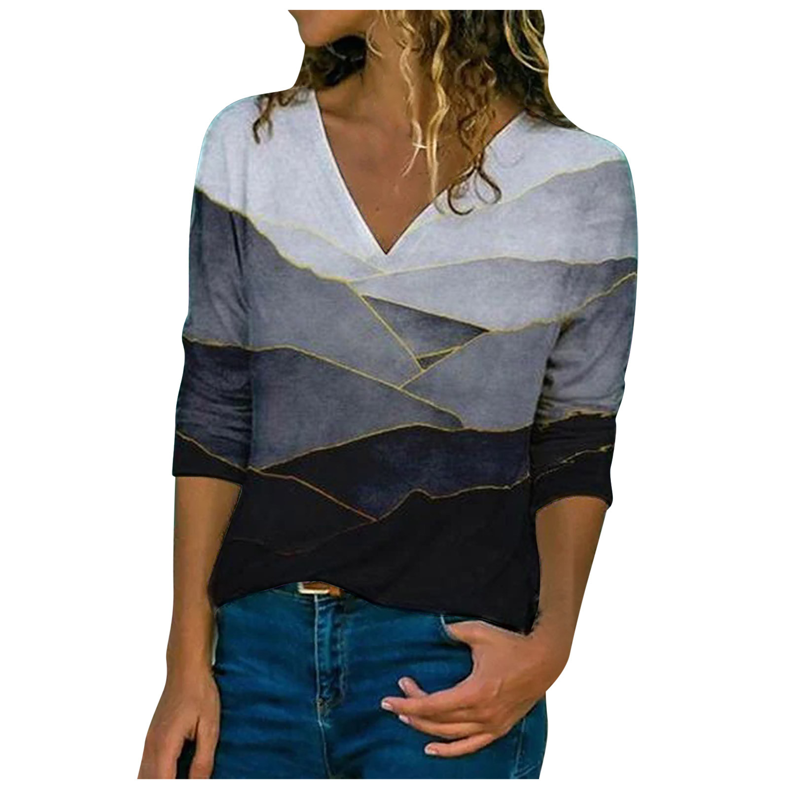 Autumn Women's Blouse Creative V-neck Geometric Printed Shirts Fashion Casual Long Sleeve Loose Female Tops Blouse Blusas