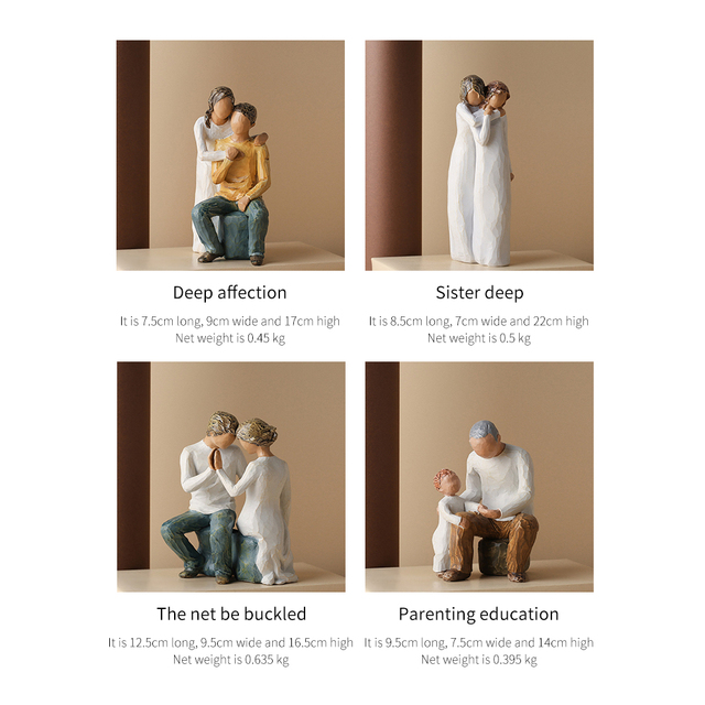 American Style People Model Home Decoration Modern Couples Figurines Room Decor Family Boy And Girl Birthday Mother's Day Gifts 6