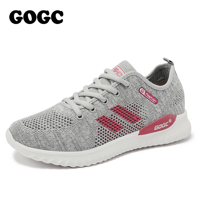 GOGC Breathable Women Socks Shoes Female Sneakers Casual Elasticity Wedge Platform Shoes Women's Flying Knitted Sneakers G6514