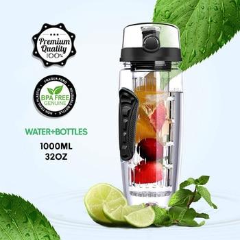 Water Bottle Fruit Infuser 32OZ BPA Free Gym Bottle Tritan Gourde Bottle Flip Top Lid Drinkware For Travel Outdoor Sports Office 2