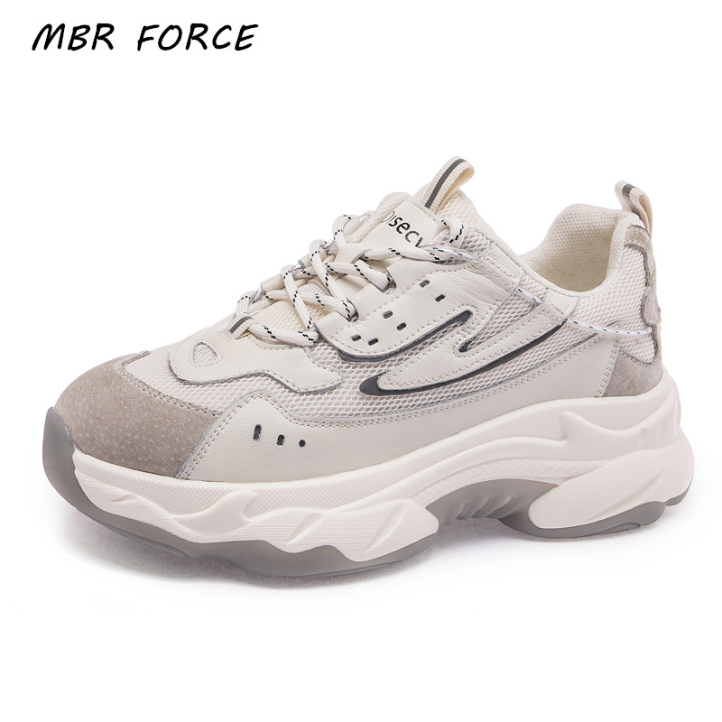 MBR FORCE Spring And Autumn Thick Bottom Sneakers Casual Shoes Ladies Vulcanized Shoes Lace Up Ladies Shoes