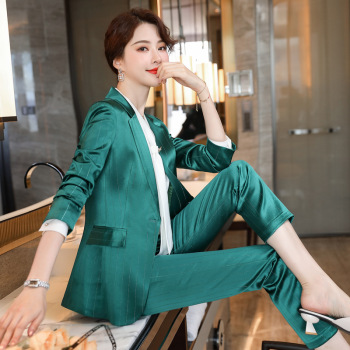Large size S-5XL high quality professional office women suit pants two-piece Autumn striped female jacket Slim trousers