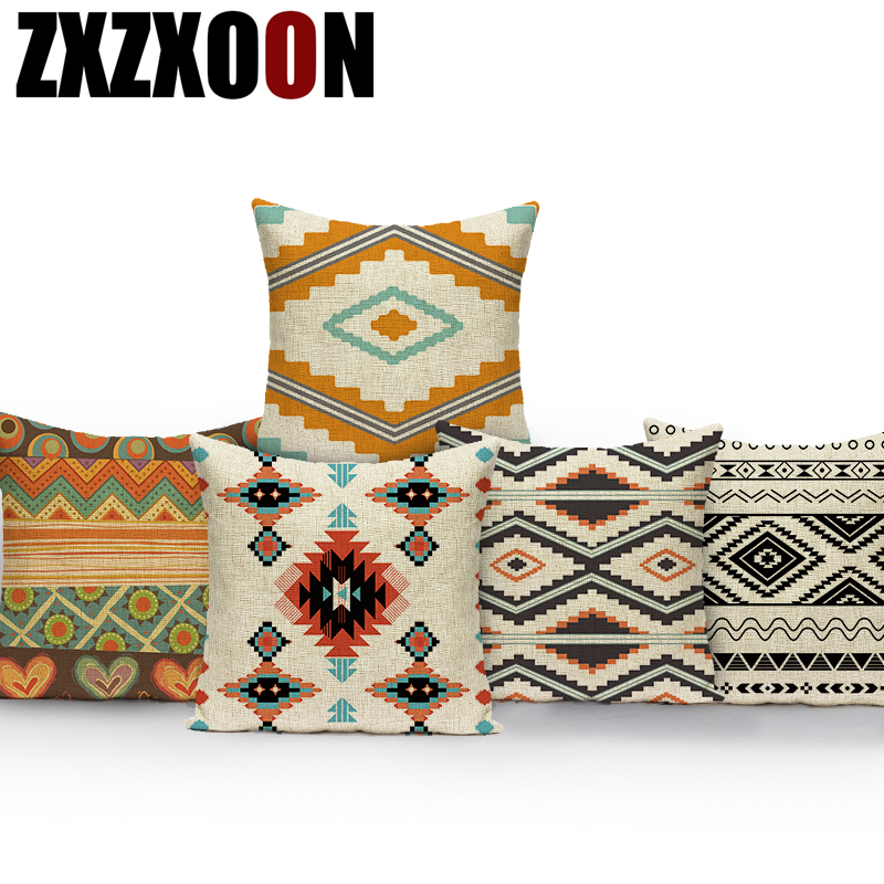 Nordic Style Geometry Cushion Cover Linen Cotton Boho Mandala Pillow Cover Home Decorative Sofa Bohemian Throw Pillow Case