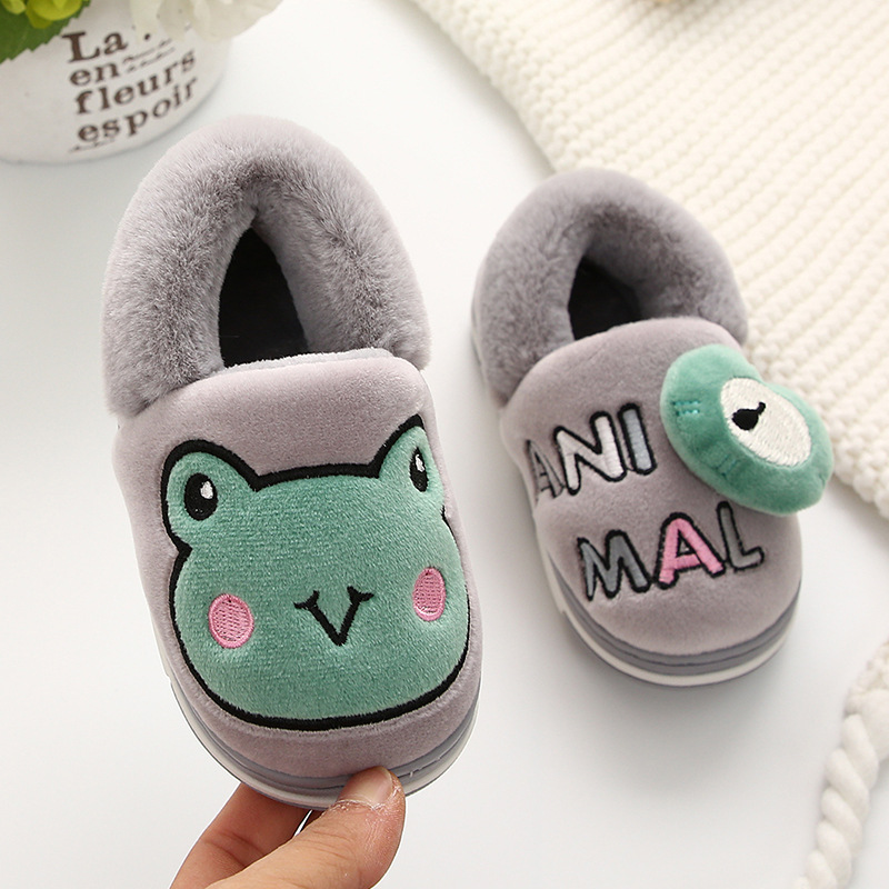 Boys Autumn Winter Slippers Kids Cartoon Frog Home Shoes Toddler Girls Cotton Slippers Children Warm House Shoe Pantuflas