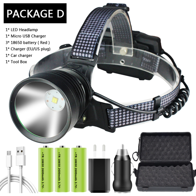 USB LED Chargeable Headlamp Head Torch Light Flashlight Zoom Spotlight Adjust