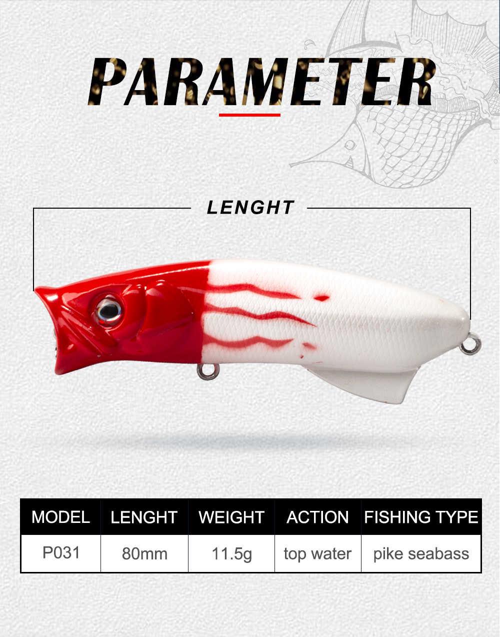 Leurre de pêche 2019 popper leurre Dur leurres d'eau Popper leurre p che 8 cm/11.5g pike bar wobbler isca artificielle P031 peche