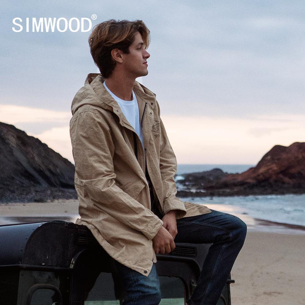 SIMWOOD 2020 Spring New Long Jackets Men Hooded Vintage Windbreaker Letter Print Thin Coats 100% Cotton Outerwear SJ130178