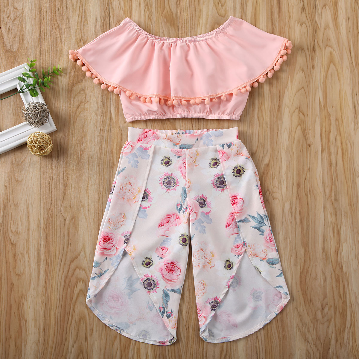 Pudcoco Newest Toddler Baby Girl Clothes Solid Color Ruffle Tassel Tops Flower Print Long Pants 2Pcs Outfits Clothes Summer