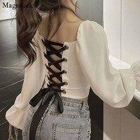 La primavera de la clavícula de manga larga con blusa blanca Sexy Mochila clásica Cruz hueca corbata corto Slim Tops negro 12577