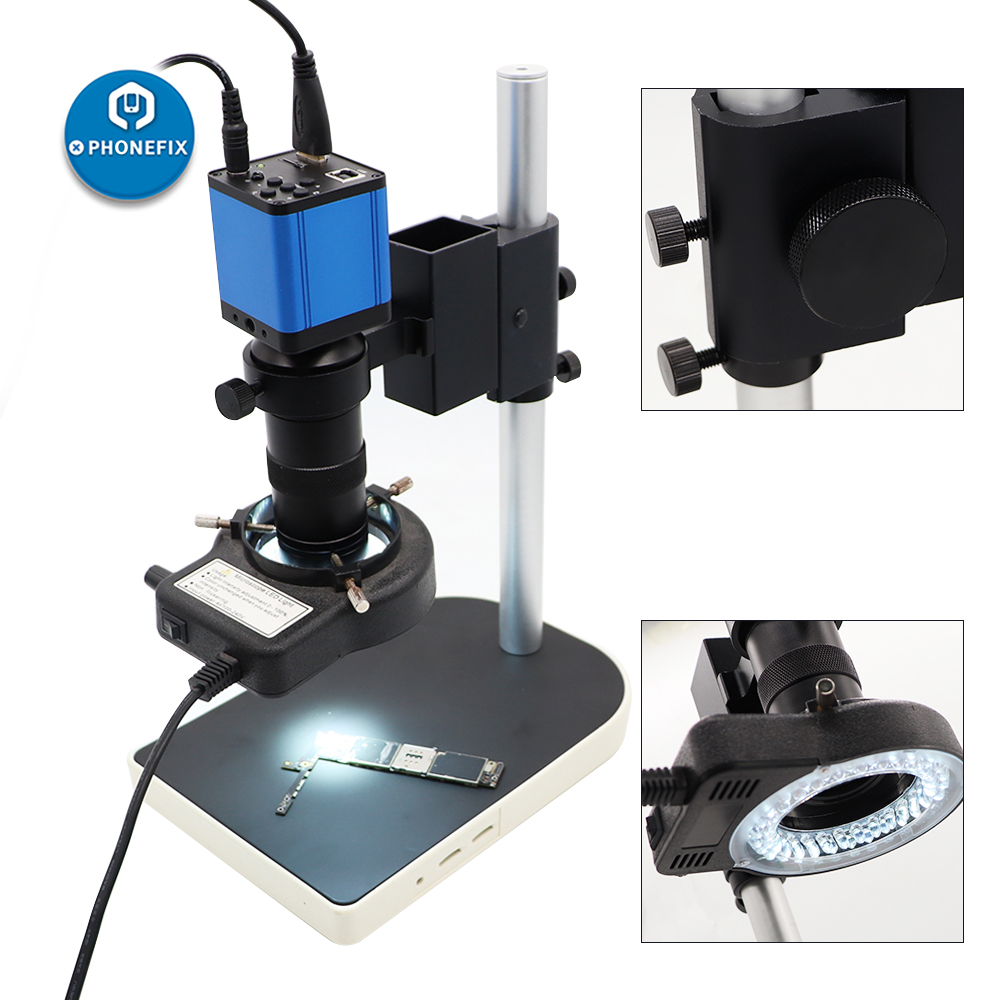 VGA 38MP HDMI HD USB Digital Microscope Camera Small Stand Holder Microscope Set 180X C-Mount 0.5X Lens For PCB Soldering Repair