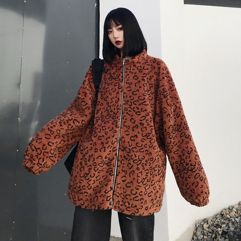 Focal20 Streetwear Leopard Japanese Letter Embroidery Women Coat Zipper Female Outerwear Casual Loose Warm Winter Lady Coats