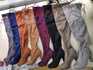 Image 5 - NEMAONE النساء تمتد فو الجلد المدبوغ الفخذ أحذية عالية مثير موضة فوق الركبة أحذية عالية الكعب أحذية امرأة أسود رمادي winated