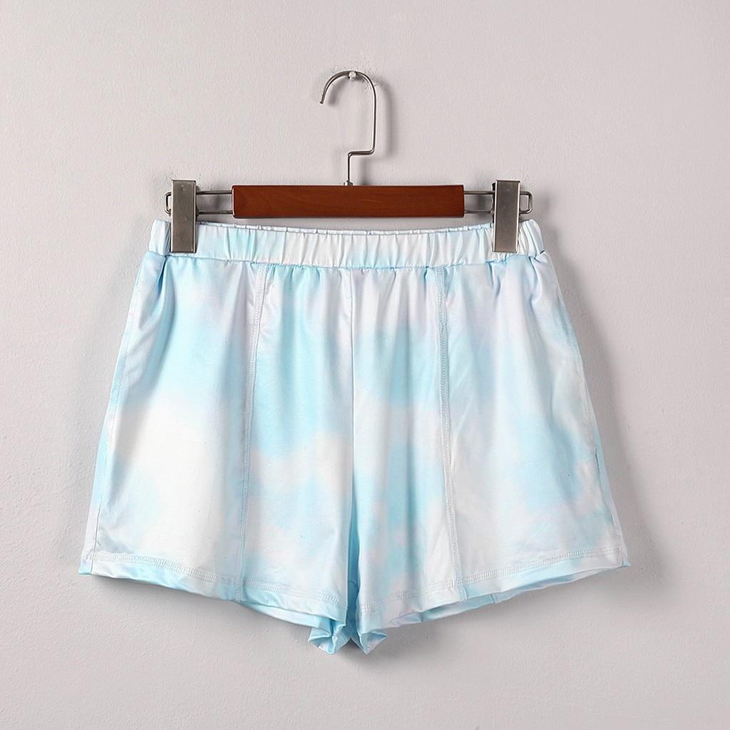 Elapsy Womens Summer Drawstring Shorts Loose Tie Dye Print Elastic Waist Shorts Pocketed Midi Rise Shorts