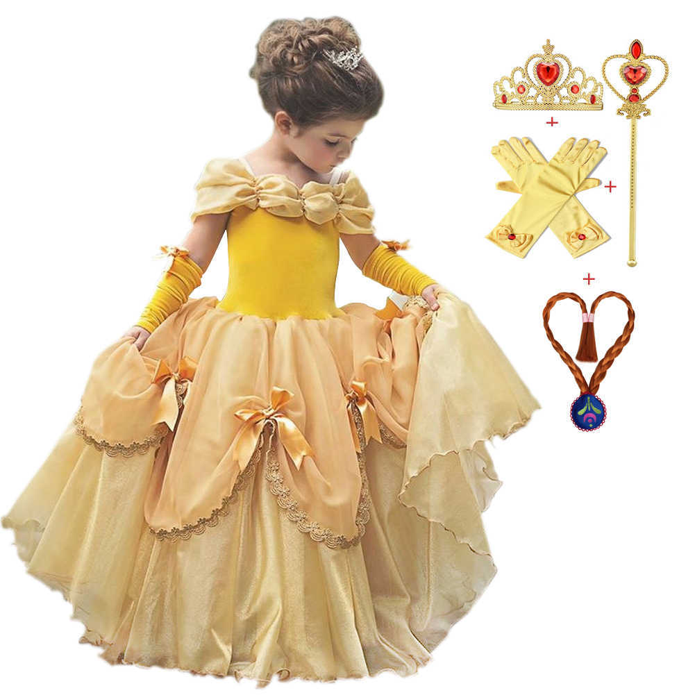 Princess Belle Dress For Girl Costumes Kids Floral Ball Gown Child Cosplay Bella Beauty And The Beast Costume Fancy Party Dress Aliexpress