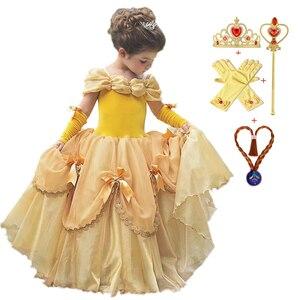 2020 летнее Belle платье для девочки;принцессы нарядное платье для девочки;платье детское;карнавал косплей праздничное платье для девочки;день ...