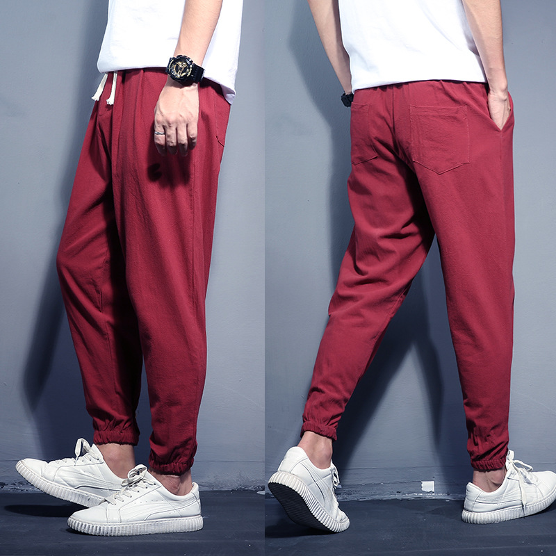 M-8XL 150KG Large Size Men's Cotton And Linen Trousers Spring New Men's Casual Solid Color Harem Pants Men's Small Feet Pants