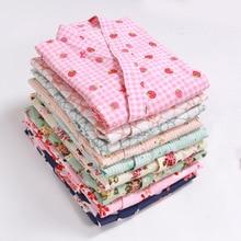 Japanese-style kimono spring and summer new 100% cotton crepe ladies thin nightgown men bathrobe robe home service pajamas