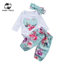 Newborn Kid Baby Girl Clothes Set Floral Long Sleeve Jumpsuit 3pcs Print Pants +headwear Outfit