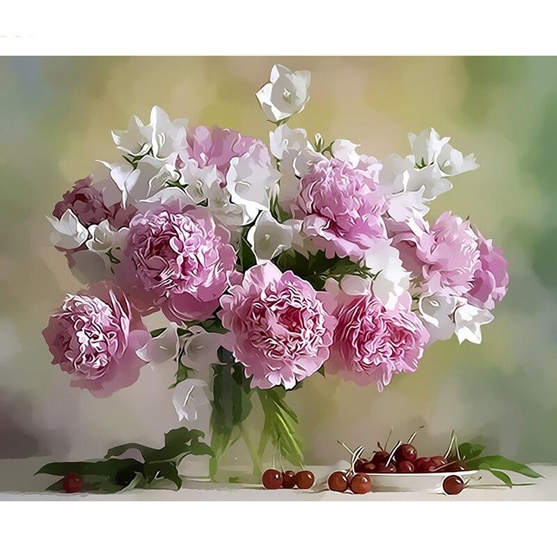 Цветы живопись открытка с днем рождения