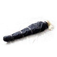 Unisex ผ้าใบสีดำ Mummy บทบาทเล่น Bondage นอนหลับกับหนังสายรัด Body Encasement Straitjacket เครื่องรางเครื่องแต่งกาย