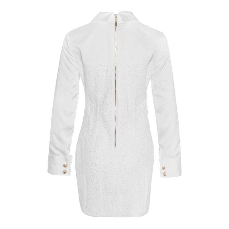 TWOTWINSTYLE, сатиновый, пэчворк, летнее платье для женщин, воротник с лацканами, длинный рукав, высокая талия, мини-платья, женская мода 2019