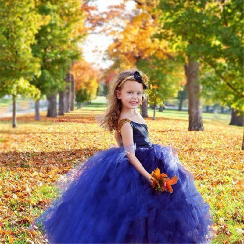 202086 (2)Royal Blue Flower Girl Dresses For Toddlers One Shoulder Tulle A Line Cupcake Pageant Gowns For Wedding Beads Back Lace Up Communion Dress
