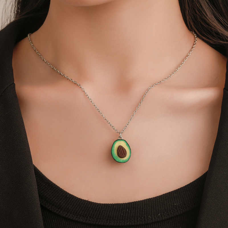 1PCS Cute Avocado Shape Pendant Necklace For Women Girl Fruit Shape Chains Charms Necklace Party Gifts Fashion Jewelry