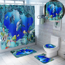 sea underworld cortina de bano polyester fabric shower curtains bathroom curtain sets with bath mat home decoration screen DW057(China)