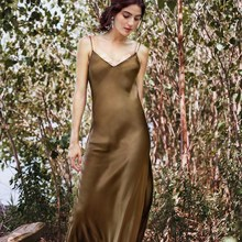 Summer Women Satin Slip Dress Spaghetti Strap Sexy Backless Maxi Dress Fake Silk Long Dress spaghetti strap satin wrap dress