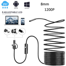 3 in 1 Endoscope IP67 Waterproof Borescope 8.0mm Inspection Snake Mini Camera 1200P with USB Adapter for Android