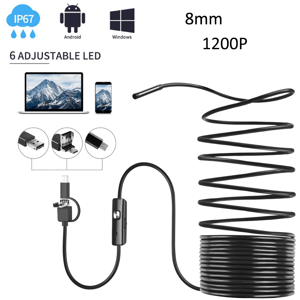 3 in 1 <font><b>Endoscope</b></font> IP67 Waterproof Borescope 8.0mm Inspection Snake Mini Camera <font><b>1200P</b></font> with USB Adapter for Android image