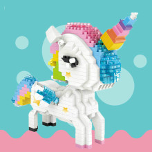 цена на Diamond Blocks Rainbow Anime Action Figure Cartoon Colorful Animals Educational Bricks Toys for Children DIY