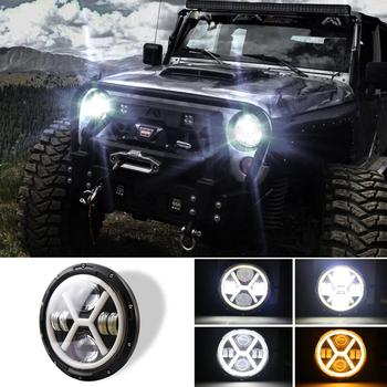 500W 30000LM 7 inch LED Yellow White Halo Angel Eye Headlights For Jeep Wrangler Led Beam Headlamp H4/H13 Car Light Lamp