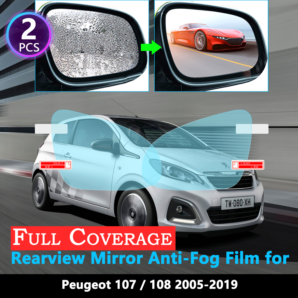 Full Cover Protective Anti Fog Film For Peugeot 107 108 2005~2019 Car Rearview Mirror Rainproof Films Accessories 2016 2017 2018