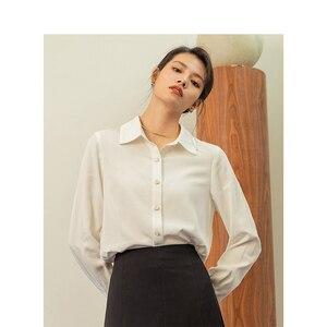 Image 3 - אינמן אביב חדש הגעה לבן צבע רטרו מינימליסטי כל מתאים להנמיך צווארון יחיד חזה Loose סגנון נשים למעלה חולצה