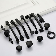 Tiradores de puerta de aleación de aluminio negro americano tiradores de cajón de armario de cocina perillas de armario para accesorios de Hardware de manija de muebles