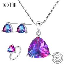 DOTEFFIL Luxury Rainbow Topaz Jewelry Set Ring/Earring/Necklace 100% 925 Sterling Silver Fashion Women Jewelry Wedding Gifts