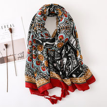 Bohemian Retro Ethnic Style Cotton Hemp Scarf Summer Seaside Sunscreen Hijab Scarf Shawl(China)
