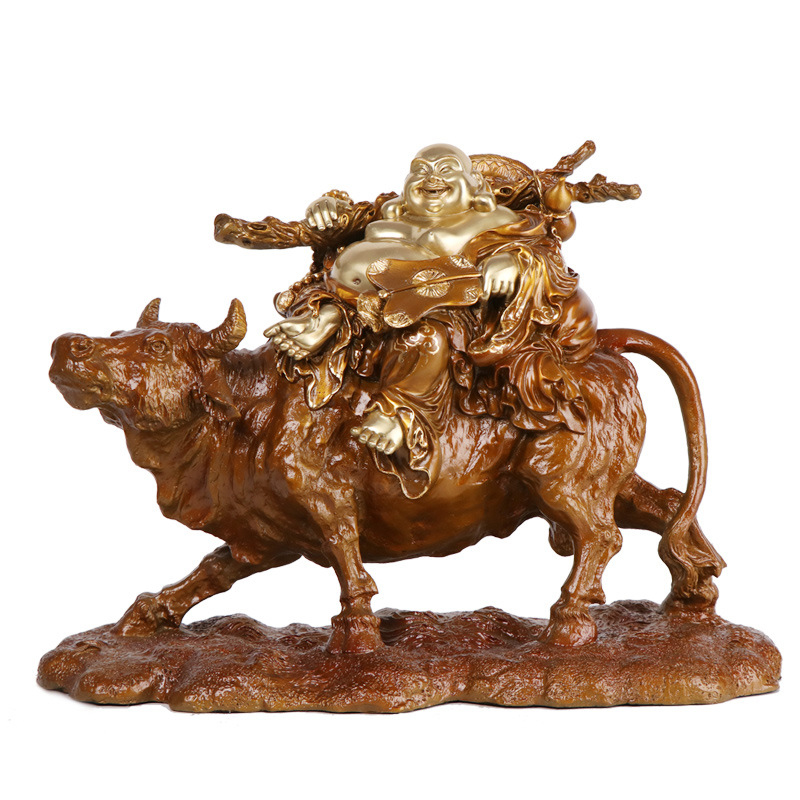 LAOJUNLU Bronze Pure Copper Ancient Brown Color Blessing Bag Laughing Buddha On The Bull Maitreya Buddha Statue Decoration