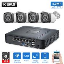 KERUI חיצוני עמיד למים 4MP מצלמה AHD 1 TB HDD 4CH אבטחת בית מצלמה מערכת DVR ערכות HDMI טלוויזיה במעגל סגור מעקב וידאו מערכת ערכה