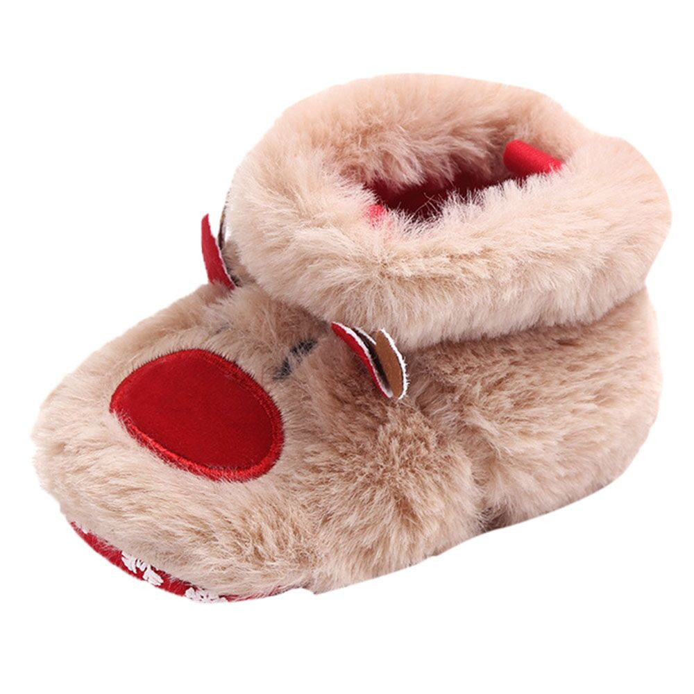 Solid Baby Shoes Girls Boys Cartoon Fluffy Deer Warm Boots First Walkers Christmas Slip-On Cotton Fabric Shoes Bebek Ayakkabi
